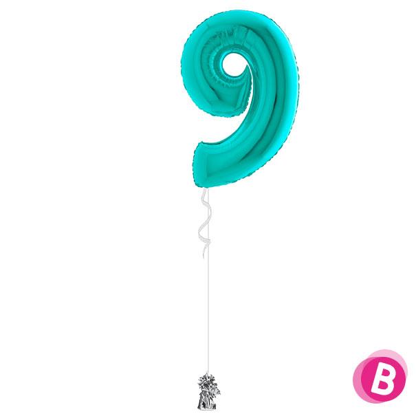 Chiffre 9 en ballon Turquoise Tiffany gonflé à l'hélium