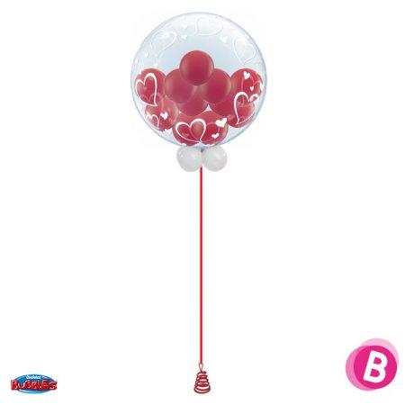 Bouquet de ballons hélium Bubble Gum coeur rouge colonne