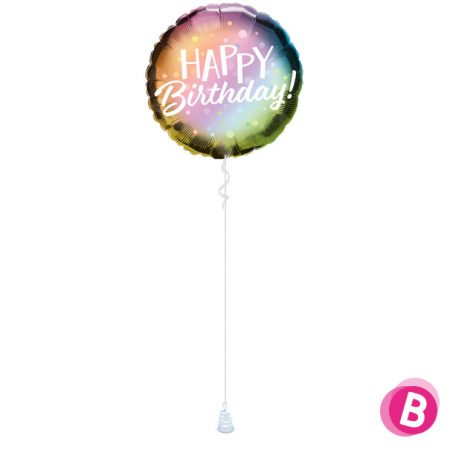 -Ballon Happy Birthday Metallic Ombre
