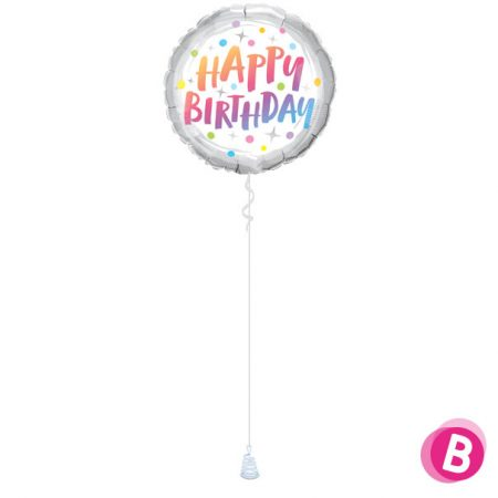 -Ballon Happy Birthday Rainbow Dots