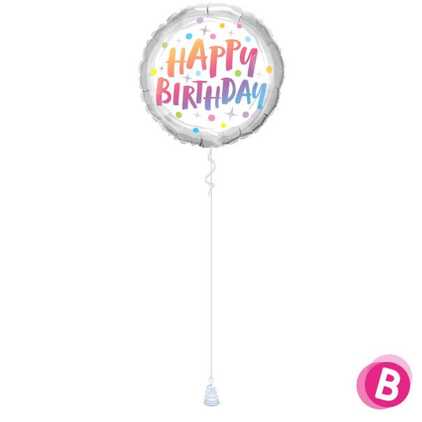 -Ballon Happy Birthday Rainbow Dots