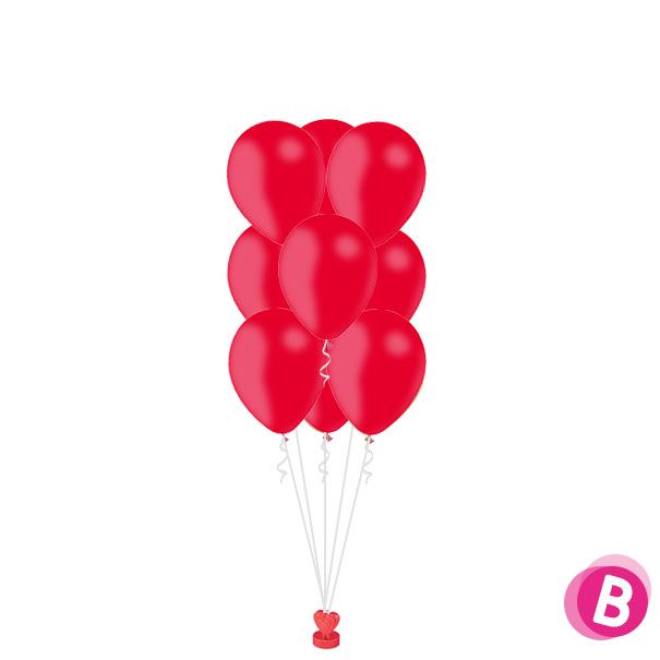 Bouquet de Ballons hélium Rouge Vif latex par 9 Luxury