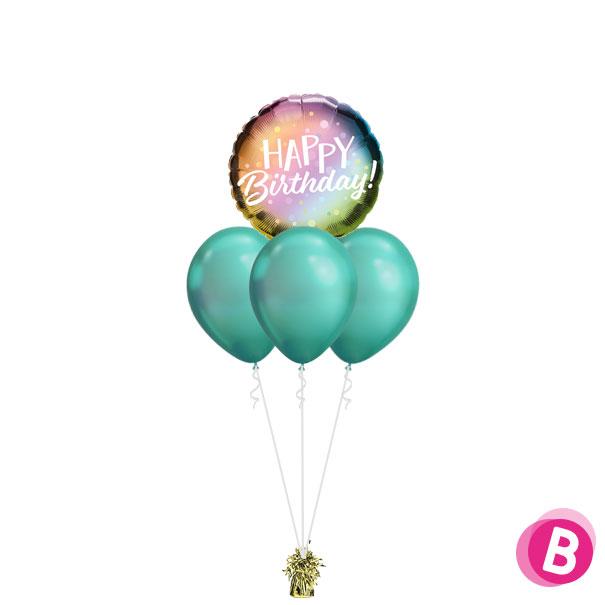 -Bouquet Nuage Happy Birthday Metallic Ombre