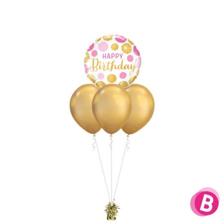 -Bouquet Nuage Happy Birthday Pink Gold Dots