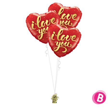 "Ballons Coeur rouge ""I Love You"" trio"