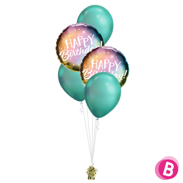-Bouquet Décoration Happy Birthday Metallic Ombre
