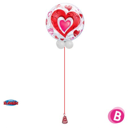 Ballon Bubble Coeur rouge et Rose