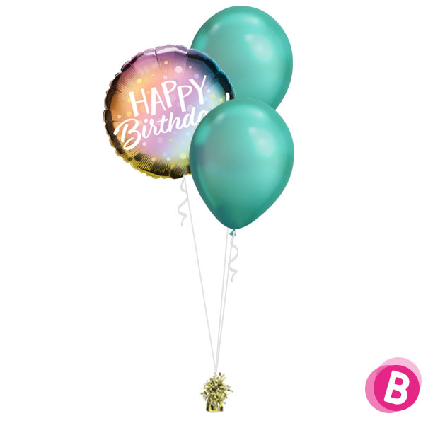 -Bouquet Happy Birthday Chrome Green