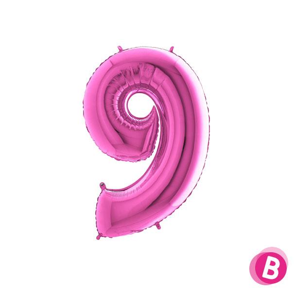 Chiffre 9 en ballon Fuchsia gonflé à l'air
