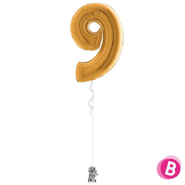 Chiffre 9 en ballon Or gonflé à l'hélium