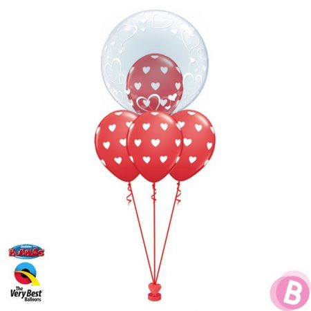 Layer Deco Bubble Coeurs Elégants Rouge
