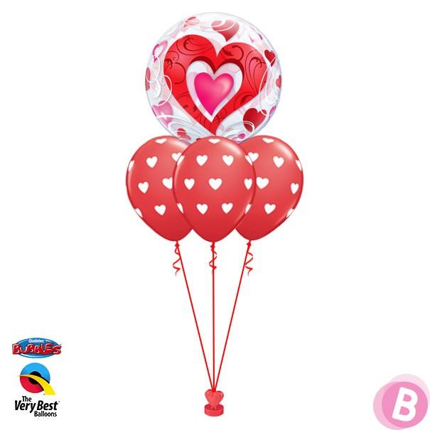 Bouquet de ballons hélium Bubble Double Cœurs Rouge Layer