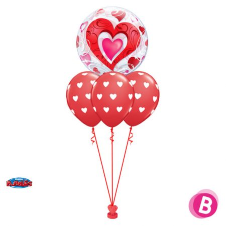 Bouquet de ballons hélium Bubble Double Cœurs Rouge Layer