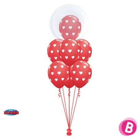 Bouquet de Ballons hélium Deco Bubble Coeurs Elégant red Luxury