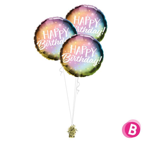 -bouquet trio Happy Birthday Metallic Ombre