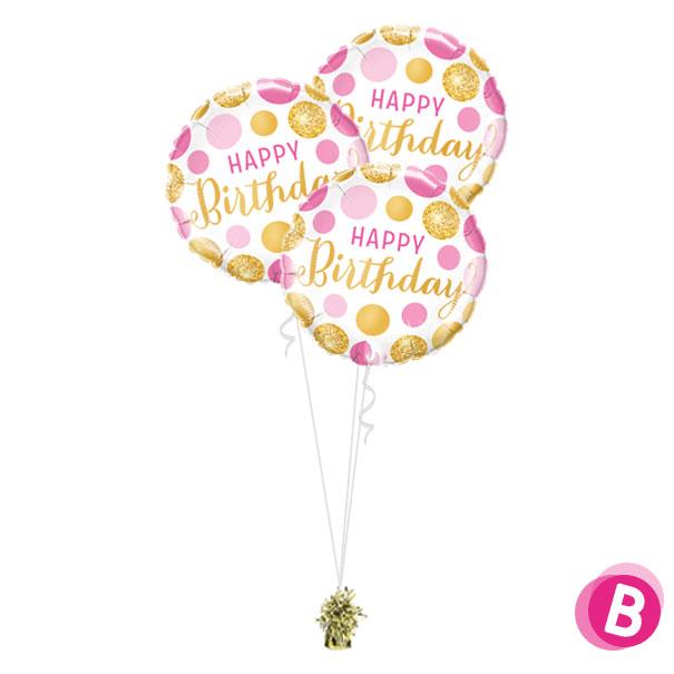 -Bouquet Trio Happy Birthday Pink Gold Dots