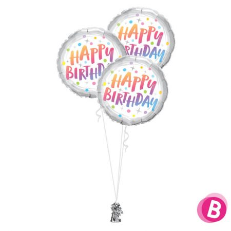 -Bouquet Trio Happy Birthday Rainbow Dots
