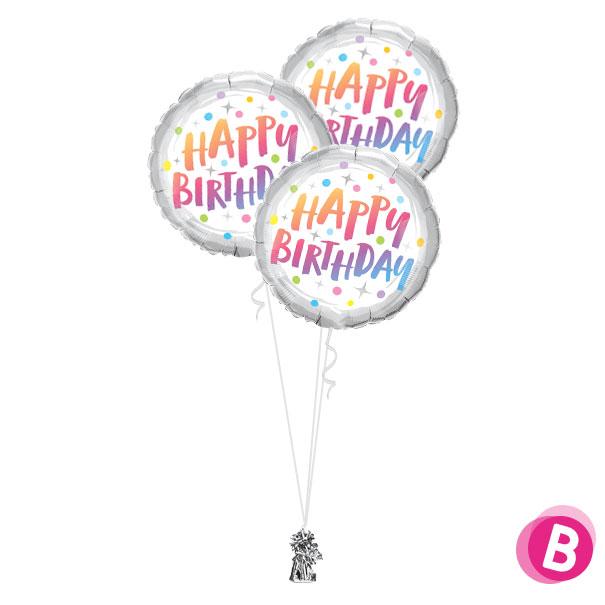 -Bouquet Trio Happy Birthday Rainbow Dots