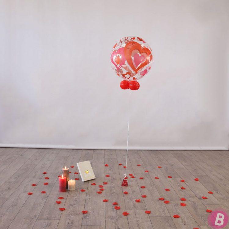Bouquet de ballons hélium Bubble Coeur rouge et Rose colonne