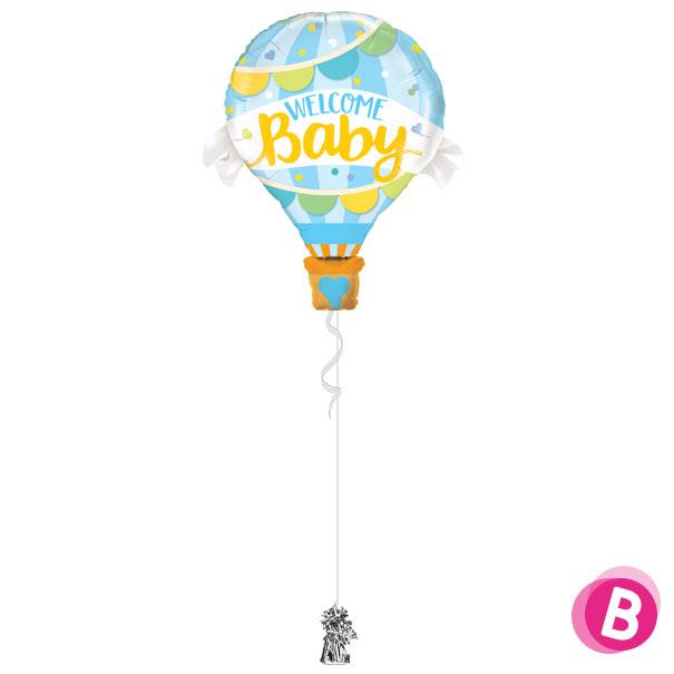Ballon Welcome Baby Blue à l'hélium