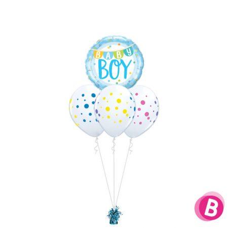 Bouquet Nuage Baby Boy Colorful Dots