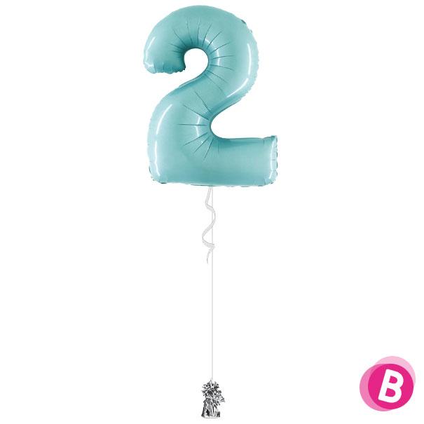 Chiffre 2 en ballon Pastel Blue