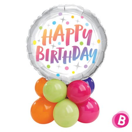 "Ballon Anniversaire Décor de table ""Happy Birthday"" Rainbow"