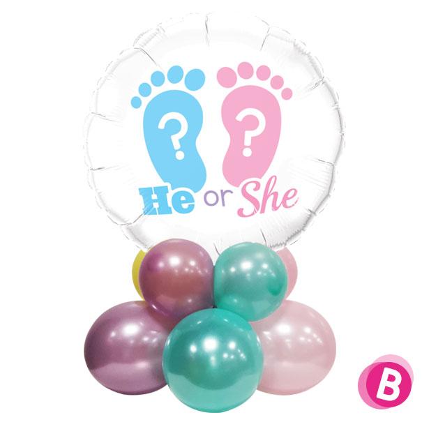 """Ballon Gender Reveal Décor de table """"He or She"""""""