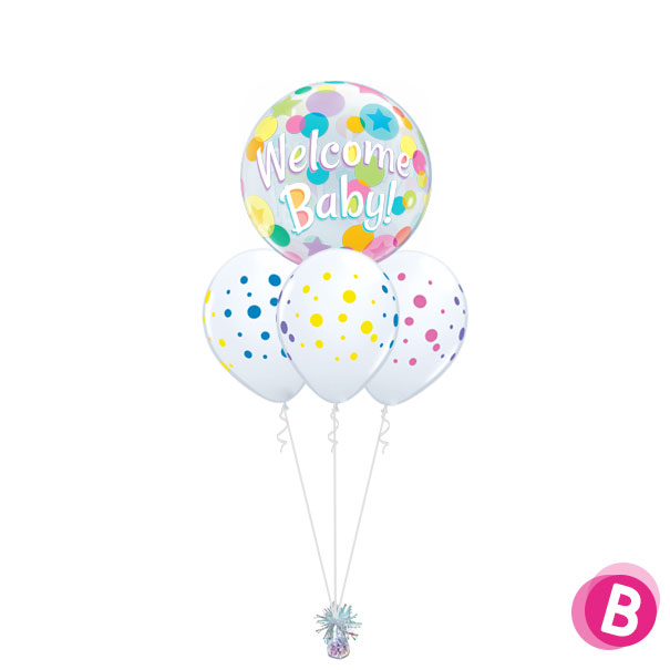 Bouquet Nuage Welcome Baby Rainbow Dots