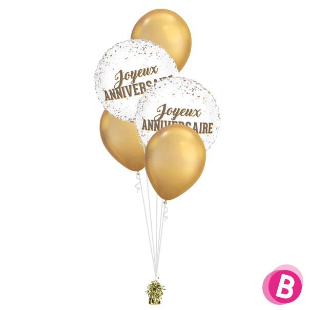 Bouquet décoration Joyeux Anniversaire Dots Chrome Gold