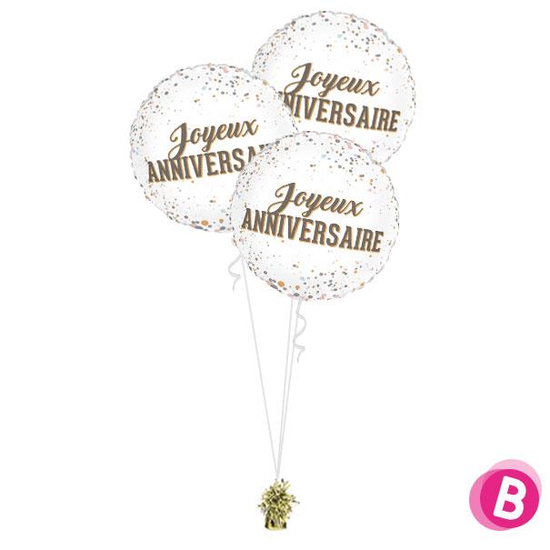 Bouquet de ballons Trio Joyeux Anniversaire Dots