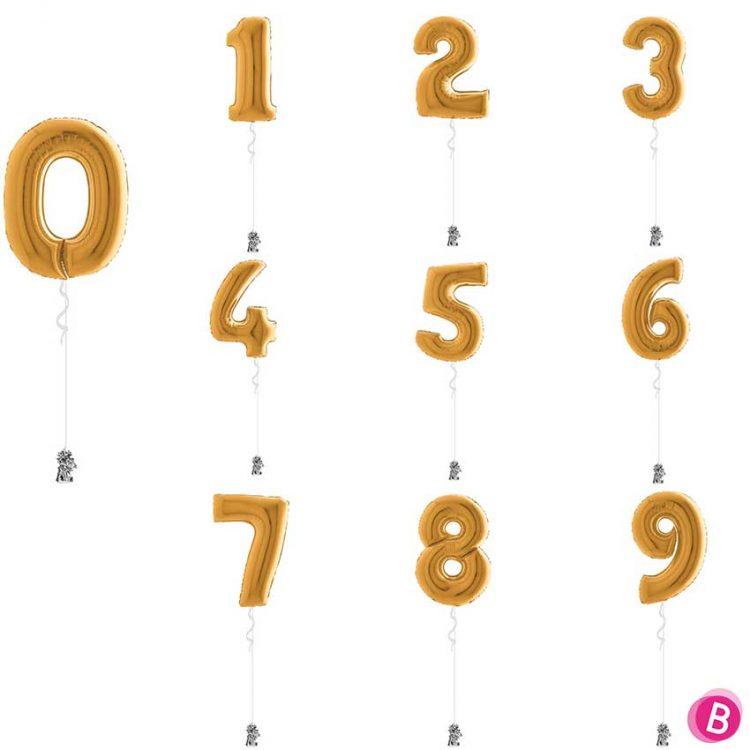 Chiffres 0 à 9 en ballon Or gonflés à l'hélium