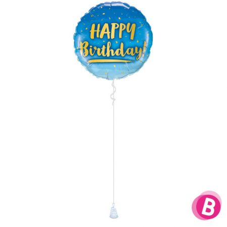 Ballon Happy Birthday Gold & Blue