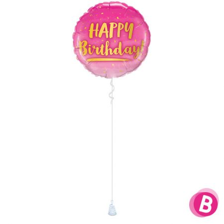 Ballon Happy Birthday Gold & Pink