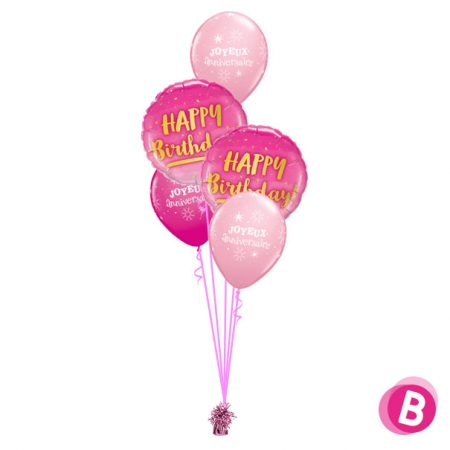 Bouquet décoration Happy Birthday Gold & Pink
