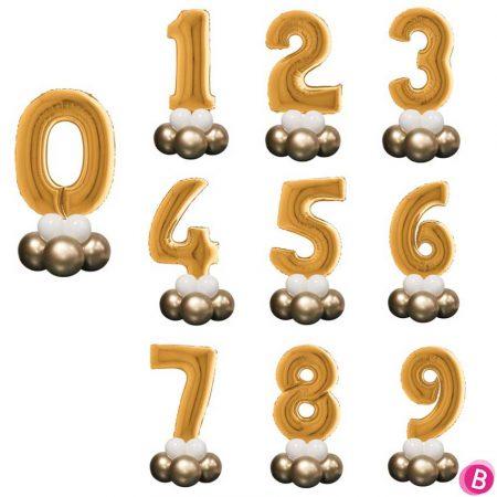 Ballon Chiffre 0 à 9 Or Mini Décor de Table