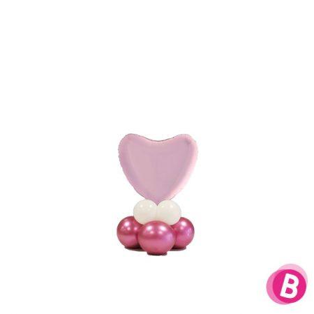 Ballon Cœur Rose Pastel Mini Décor de Table