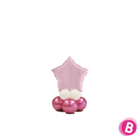 Ballon Étoile Rose Pastel Mini Décor de Table