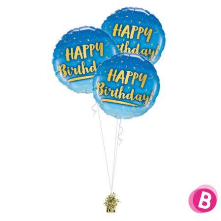 "Ballons Anniversaire Or et Bleu ""Happy Birthday"" Trio"