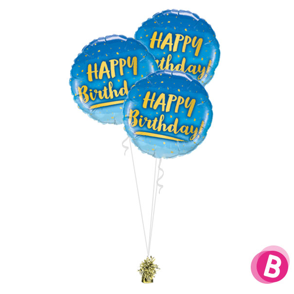 Bouquet Trio Happy Birthday Gold & Blue