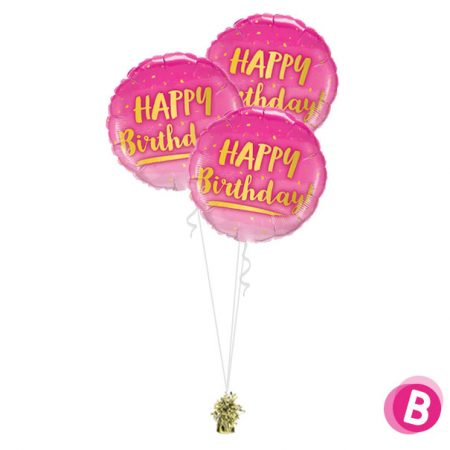 Bouquet Trio Happy Birthday Gold & Pink