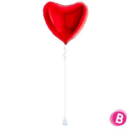 Ballon Cœur Rouge alu