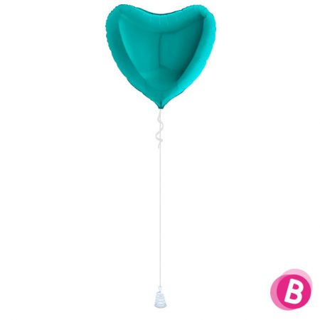 Ballon Cœur Turquoise alu