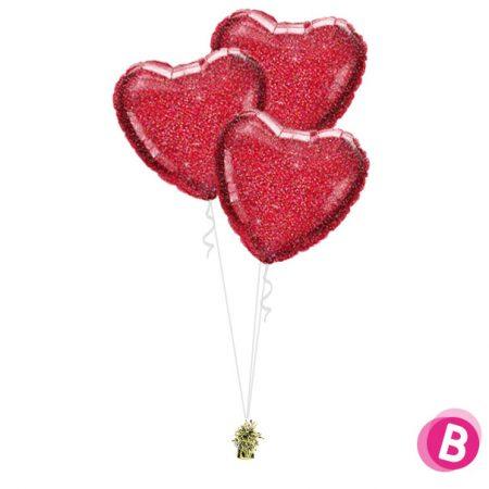 Ballons Coeur Rouge Paillette Trio
