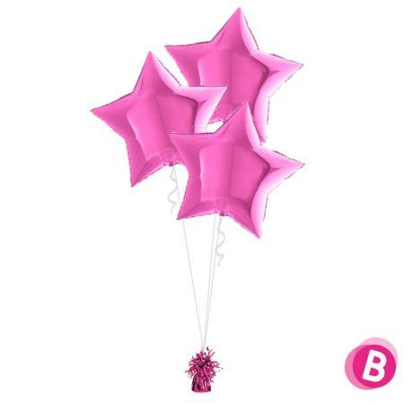 Ballons Étoile Fuchsia Trio