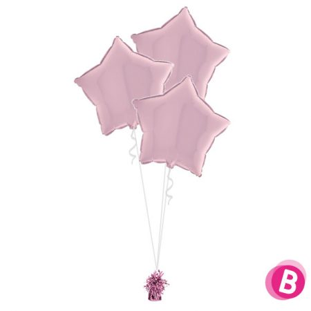 Ballons Étoiles Rose Pastel Trio