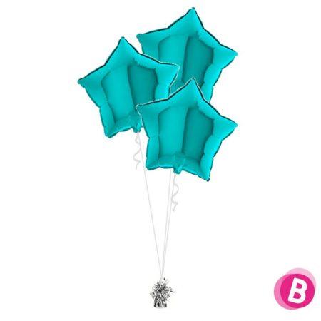 Ballons Étoiles Turquoise Trio
