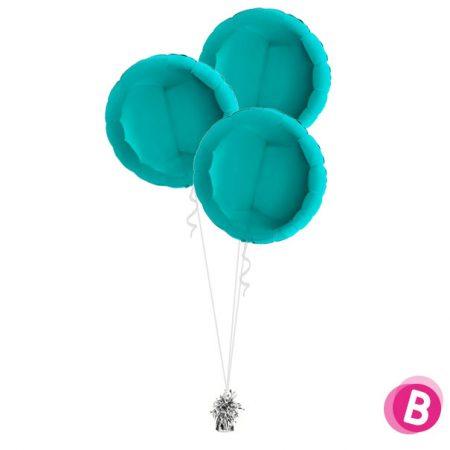 Ballons Ronds Turquoise alu Trio