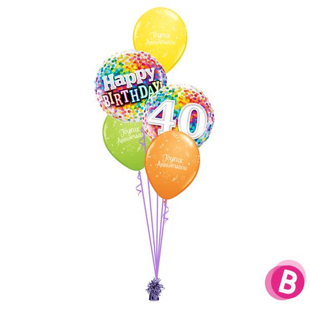Bouquet déco Happy Birthday 40 Multicolore