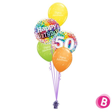Bouquet déco Happy Birthday 50 Multicolore